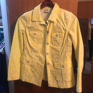 Cute Cabi Yellow floral jacket Small